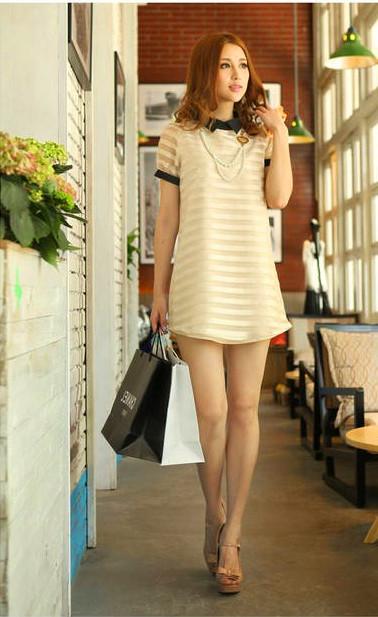 Женское платье 2013 Новый женский светская темперамент Слим похудение юбка из органзы полоса воротник платье