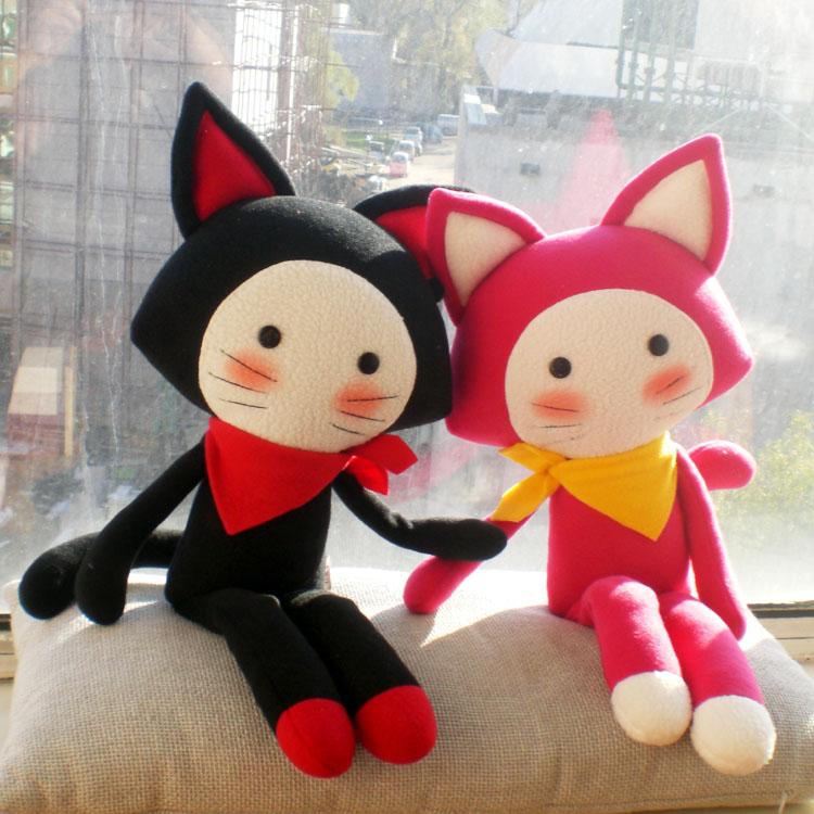 红裙子布娃娃毛绒玩具黑米\美米婚庆压床娃娃公仔结婚礼品猫咪