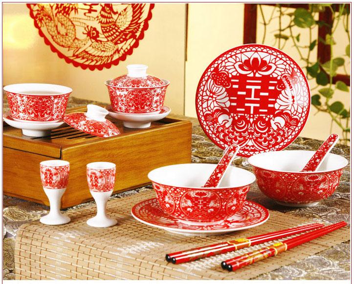 婚礼用品 婚嫁礼品 敬茶杯 夫妻喜碗 婚礼敬茶用28件套陶瓷餐具
