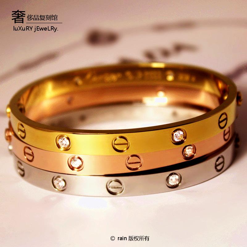 小辣椒明星同款 永恒之环love18K玫瑰金时尚钛钢手镯女式男士韩版