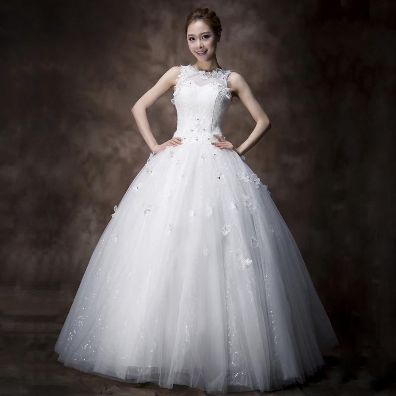 2013新款韩版无袖双肩婚纱礼服 新娘结婚镂空蕾丝 甜美公主婚纱