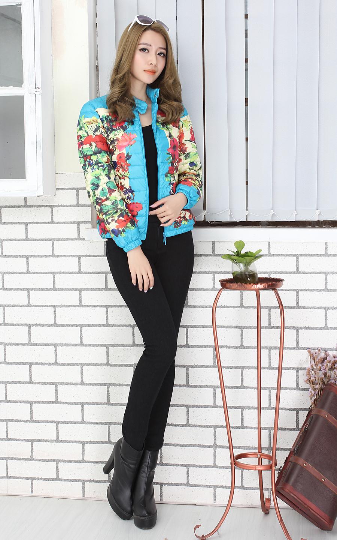 2013新款潮蒙口羽绒服女款韩版时尚印花修身设备轻薄短款取消禁用图片