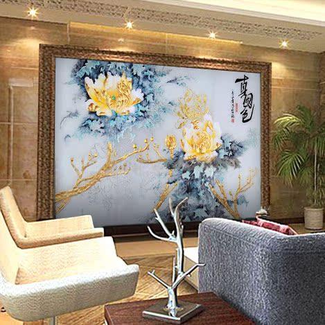 好地方直销深雕艺术玻璃电视背景墙玻璃工艺隔断墙屏风*花姿招展