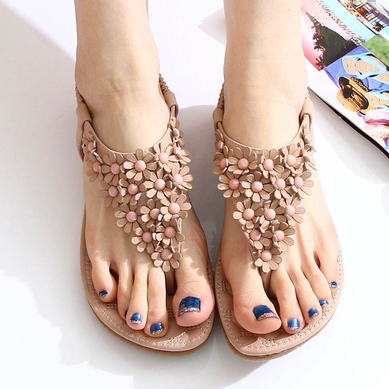 Bohemian flats new beaded thong sandal toe shoes summer flowers in Korean