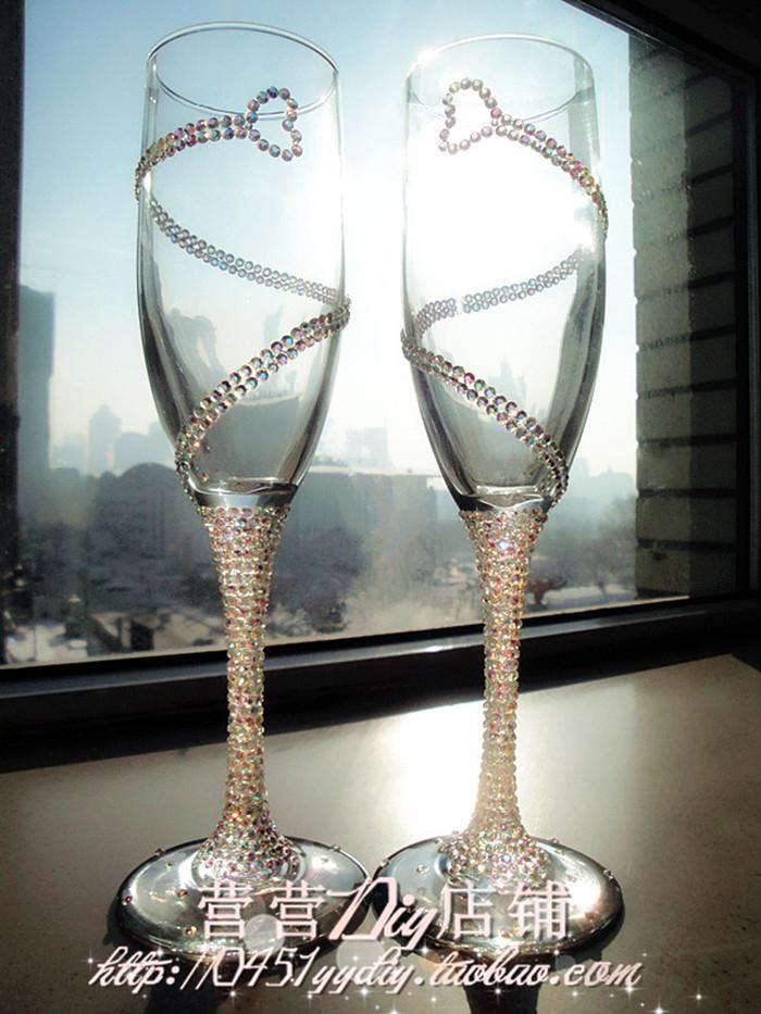 营营店铺 水晶水钻 心心相印款对杯酒杯 香槟杯 生日结婚创意礼品