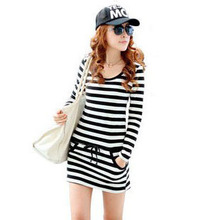 2013 summer new dress fat MM XL Korean women were thin Slim Striped Dress Clearance