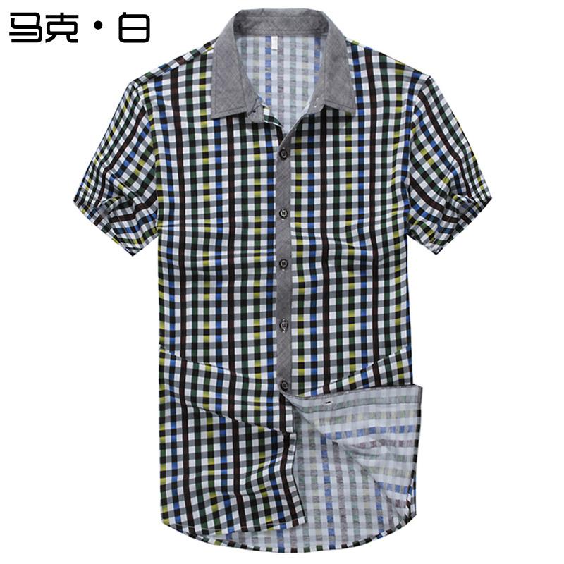 Рубашка мужская Mark 324/1 2013 Лето 2013 Квадратный воротник Короткие рукава (длина рукава <35см)
