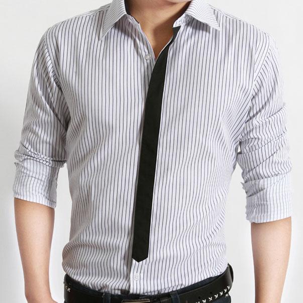 Рубашка мужская Stiofan 1220011/1 2012 Ткань с цветными полосками С остроконечным лацканом Длинные рукава ( рукава > 57см )
