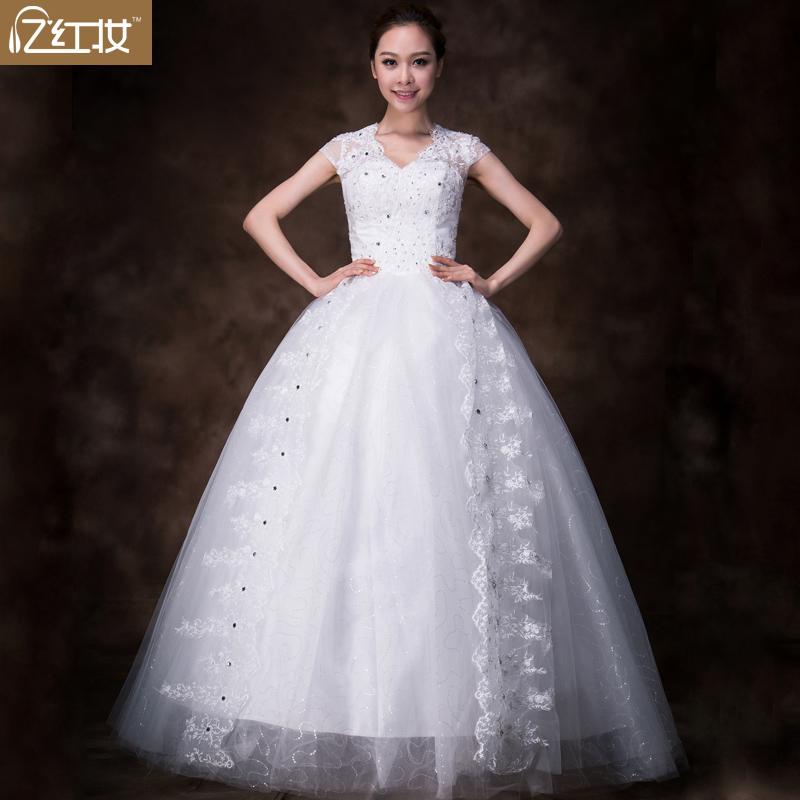 忆红妆  结婚季蕾丝花朵双肩齐地蓬蓬婚纱V领 韩式包肩公主婚纱礼服修身