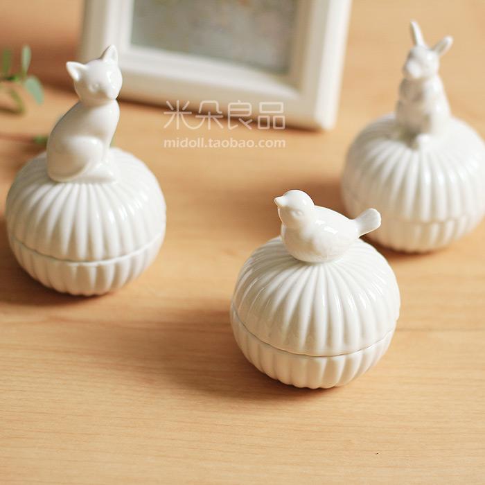ZAKKA милые животные керамические Сен ювелирные box мини хранения банок котенка Кролик птица декоративные украшения