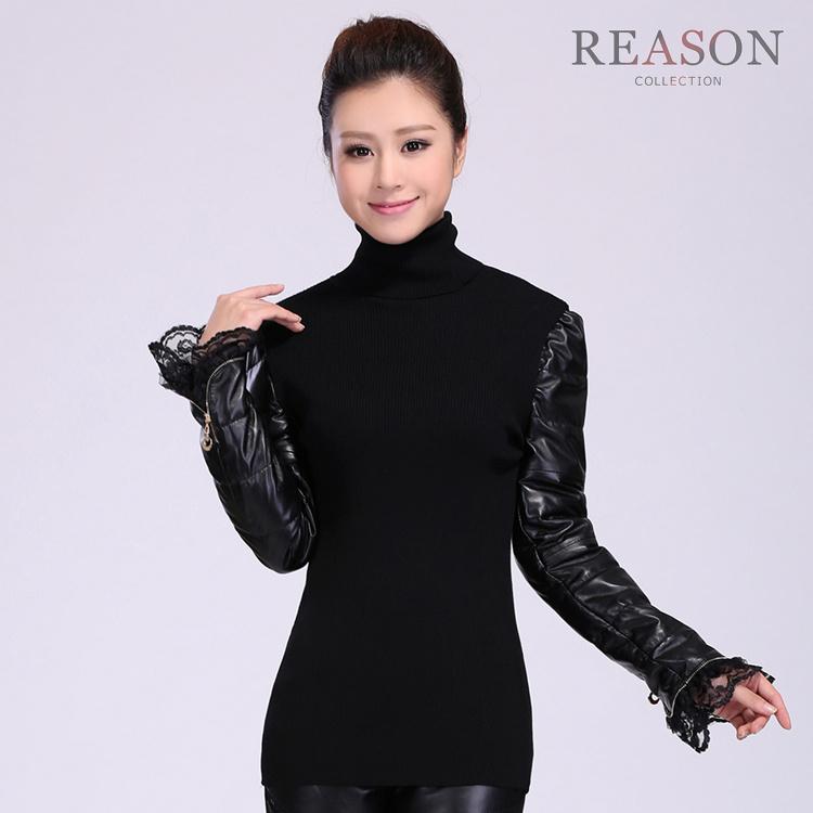 Трикотаж Длинный рукав кожа свитер рукав дна рубашки женщин головой вниз осень/зима новый стиль толстый низкой стойкой тонкий джемпер свитер