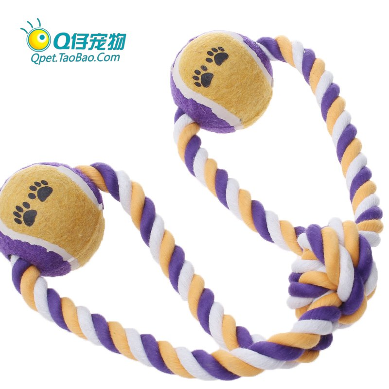 Woven single recording to dual tennis-Jie molar teeth bite rope toy pet toys knot toys dog toys