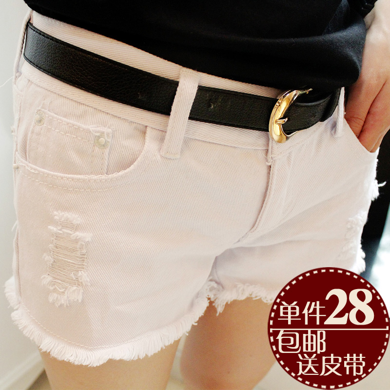 Spring summer clothing shorts women jeans hole in the Korean version of Flash ultra thin loose shorts flows plus size thermal pants