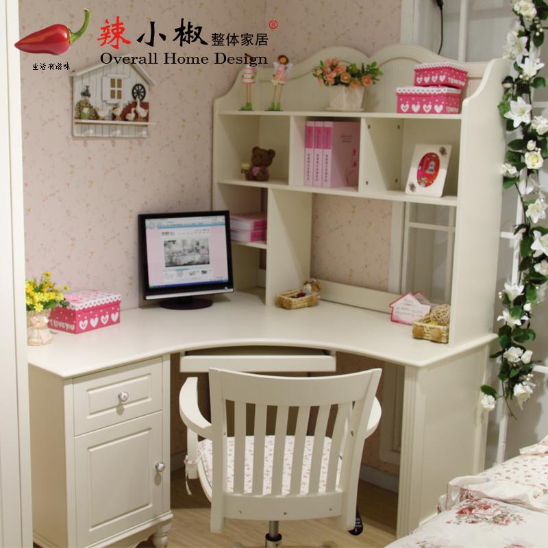 辣小椒 韩式田园家具 电脑桌 转角书桌书柜组合 白色图片