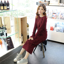 Slim Korean style thick knitted sweater pullover long dress pocket twist