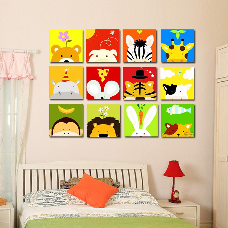 数字油画 动物连连看 儿童房 卡通 益智礼物 diy手绘装饰画 特价图片