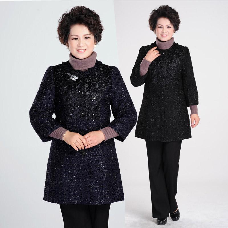 2013中老年女装秋装毛呢外套女中年女装秋装妈妈装外套特价包邮