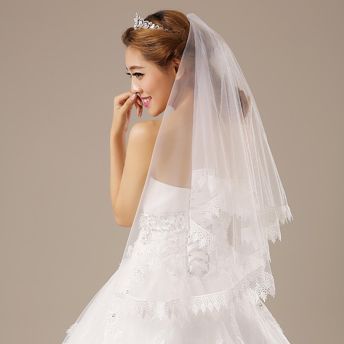 情海新娘花开如意大花边1.5米复古白色头纱新款结婚婚纱头纱配件