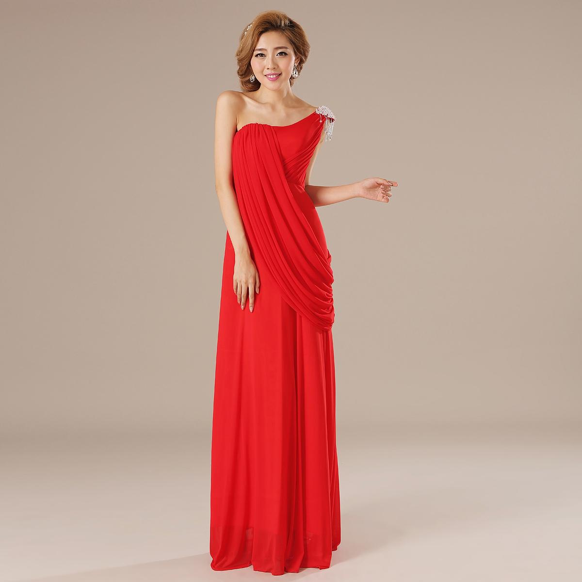 婚纱礼服新款2013新娘结婚红色礼服单肩长款敬酒服晚礼服LF13063