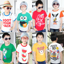 Children wear short-sleeved T-shirt boys summer 2013 Korean version of the new children clothes clothing knitted cotton cartoon boy tide