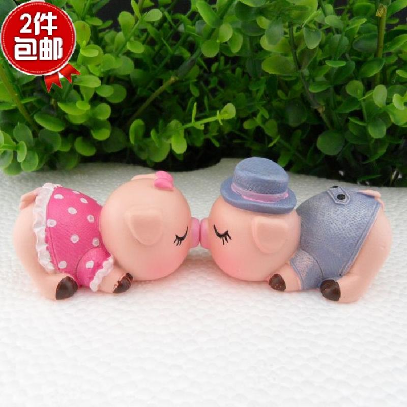 可爱亲吻小猪猪摆设 创意磁吸家居饰品摆件 对吻猪车饰 情侣礼物