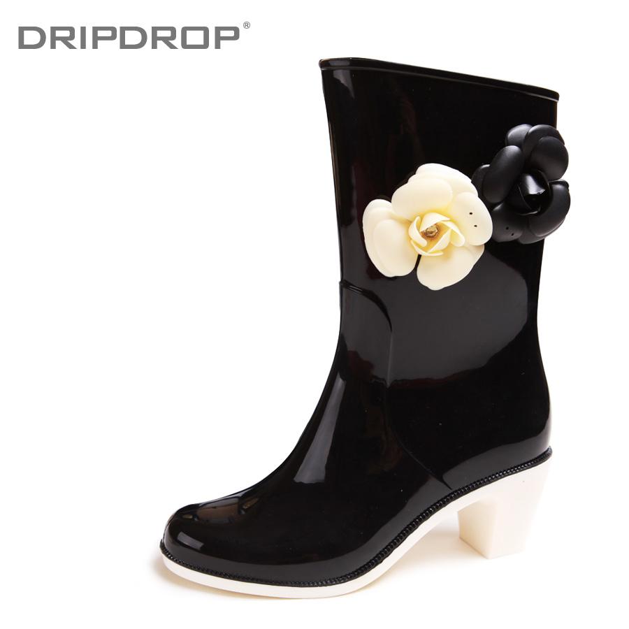 新款/【dripdrop】新款时尚高跟中筒雨靴纯色雨鞋山茶花朵水鞋 女