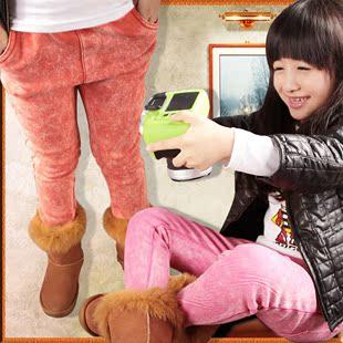 女童打底裤加绒加厚冬款女孩童装仿牛仔裤儿童铅笔裤糖果色小脚裤