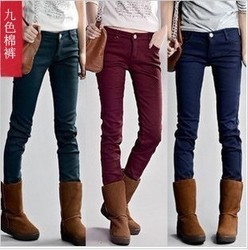 Colored pencil pants stretch jeans skinny pants boots pants trousers thickening big size