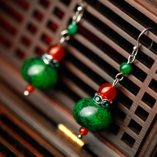 Phoenix Nirvana female fashion retro earrings Natural red agate jewelry malachite original Chinese style cold Chui