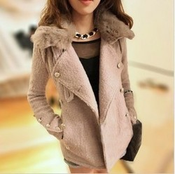 Korean style rabbit fur collar fashion slim small size short style wool coat jacket