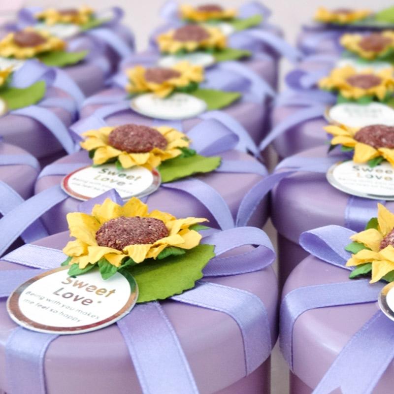 高档个性创意欧式韩式向日葵花马口铁喜糖盒子 定制批发