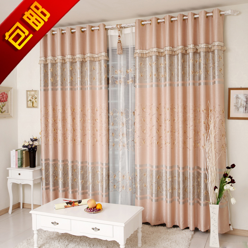 High-grade living room curtain embroidered curtain bedroom shading cloth sequins embroidery European thickening insulation special package mail