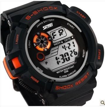 正品牌户外运动男表 多功能LED夜光果冻表 深度防水学生电子手表