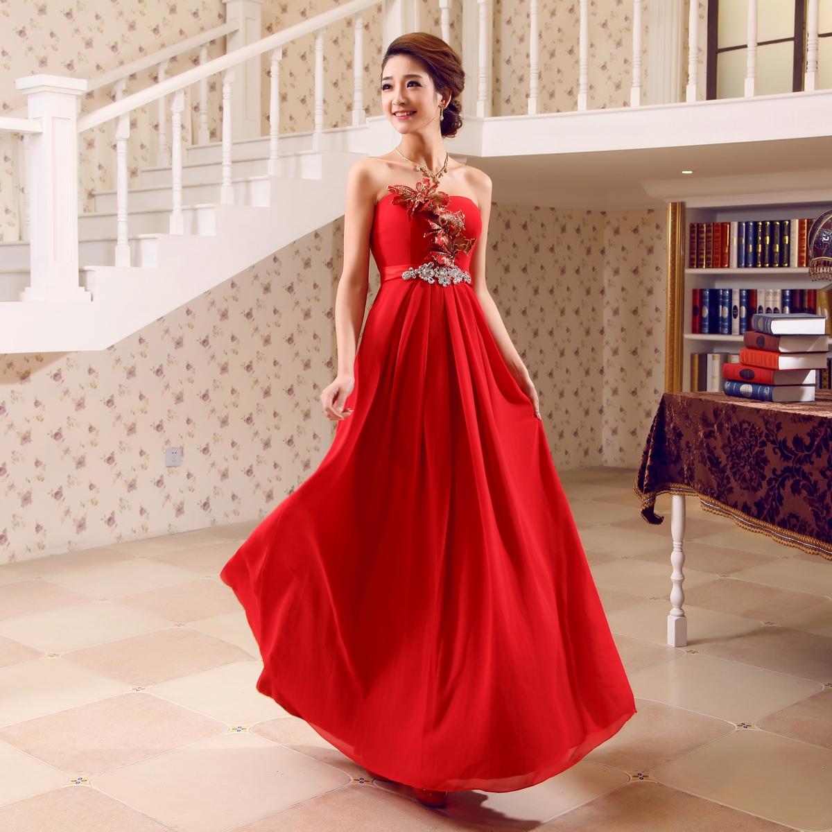 婚纱礼服 新款2013 结婚季 新娘抹胸长款晚礼服 红色结婚敬酒服 F-314