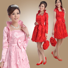 Bridal wear red spring fashion short princess tutu dress big yards pregnant brides toast summer 1314