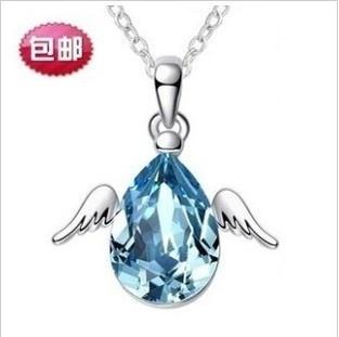 925纯银项链女  韩版天使飞舞纯银镶嵌宝石 短款锁骨链女款 包邮