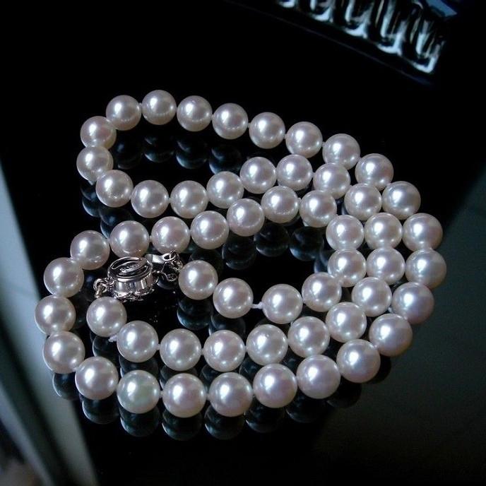 正品珠宝送妈妈送爱人9-10mmAAA+天然近圆珍珠项链 饰品 包邮女