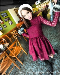 US- Korea style fur collar lace dress Favorites