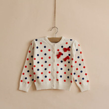JANG PIERRE ~ Korean foreign trade single ginger home knitting cardigan wave point cotton thread Rice white