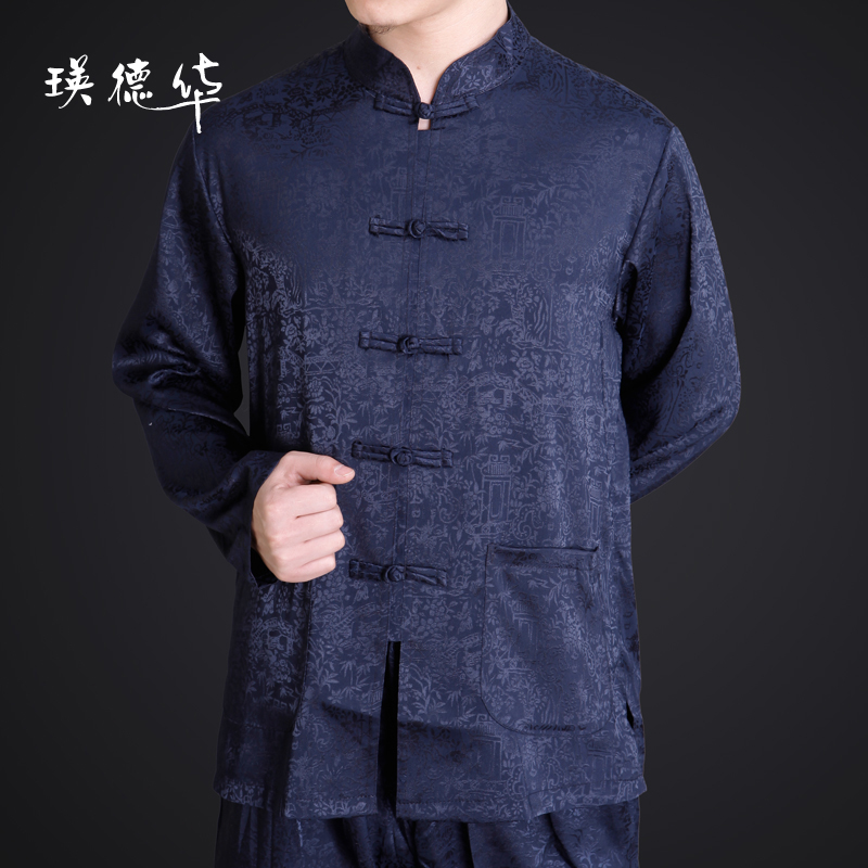 New middle-aged men's clothing men's costumes, clothing with long sleeves shirt Tomb Sweeping Festival on the River in spring and autumn clothing