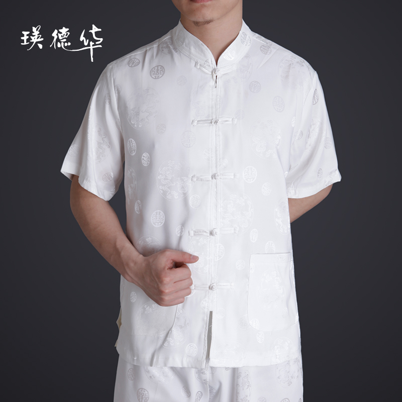 Ying Tak Wah new men's casual clothing short sleeve men's costumes men's casual Chinese clothing spring clothing