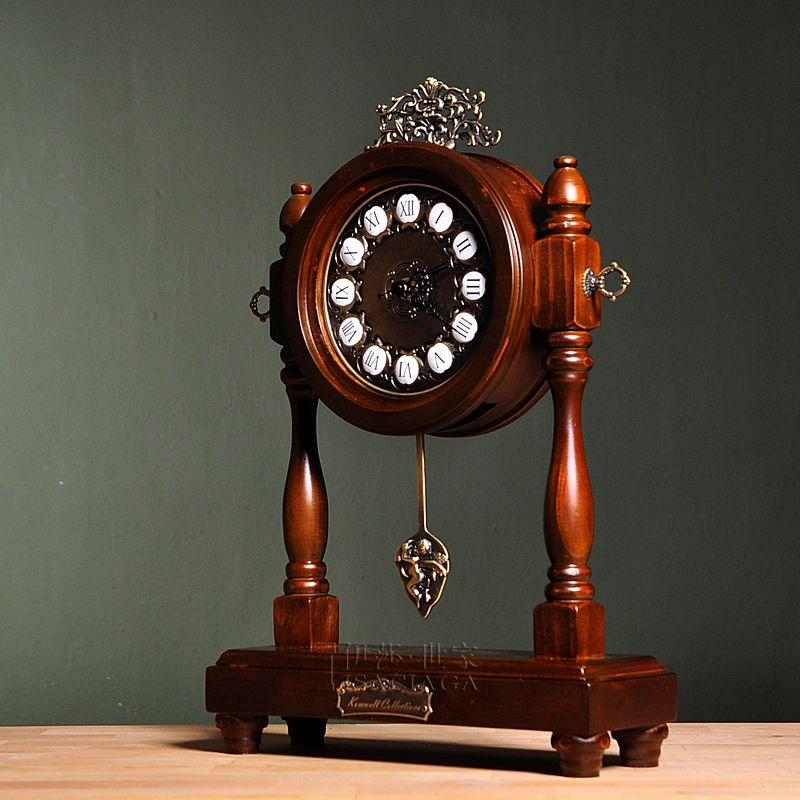 Isa family Isa European American style family Anas white brown wood clocks jump second clock un-muted