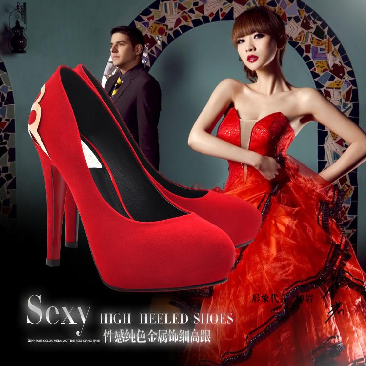 莫蕾蔻蕾/moolecole高跟细跟单鞋婚鞋 罗马风金属装饰防水台单鞋