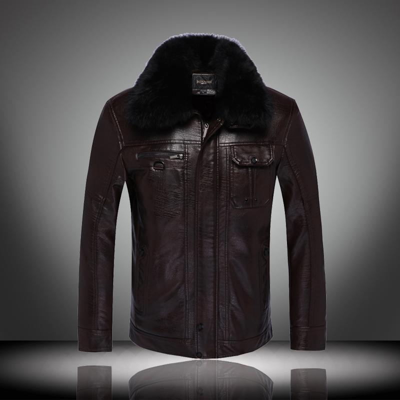 中年男士皮衣冬裝棉衣中老年男裝加絨加厚短款pu皮夾克外套爸爸裝圖片