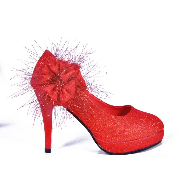 新娘子高跟红色婚鞋 大码结婚鞋子 新娘鞋2013女单鞋966-1#