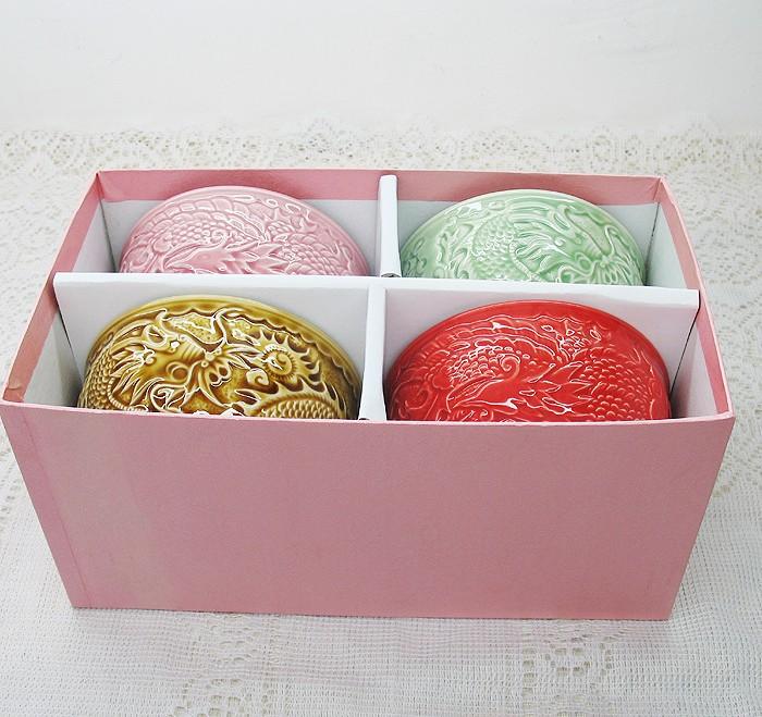 景德镇陶瓷餐具套装彩釉手雕龙凤喜碗四件创意婚庆礼品厨房用具