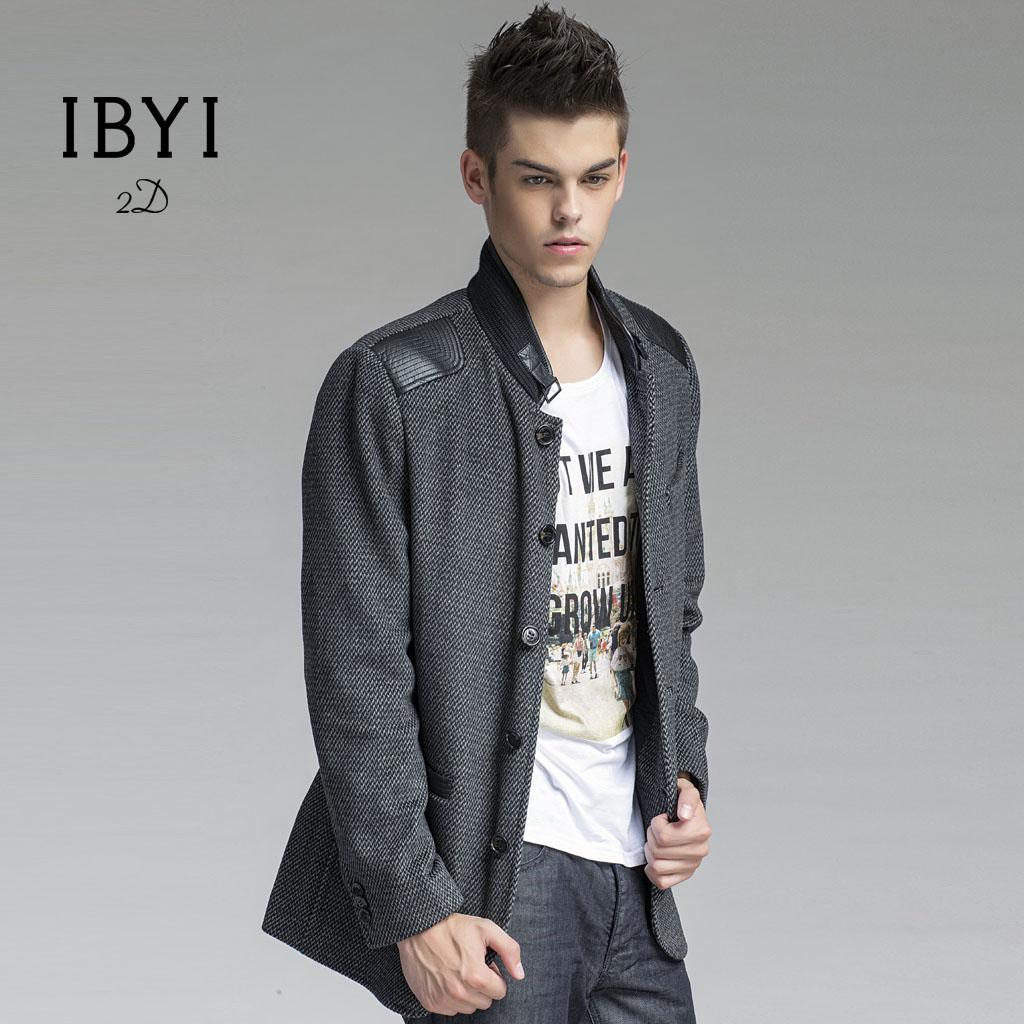 Пальто мужское Ibyi 2013 Шерстяная ткань для пальто Без воротника со стойкой