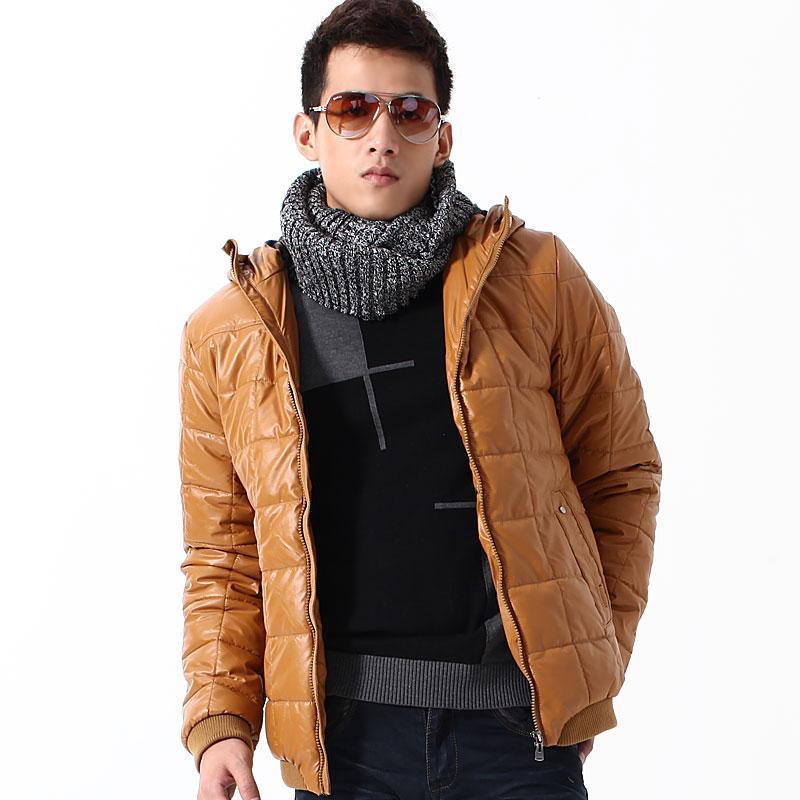 Одежда из кожи GENANX T036/22 Имитация кожаной одежды Искусственная кожа Зимняя Воротник с капюшоном