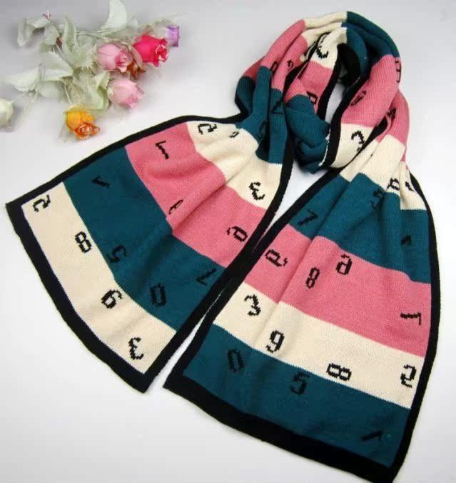 шарф Новый год пакет почты Ms осень/зима Корейский пара номер двухсторонняя мягкие длинные полосы мило шерстяной шарф