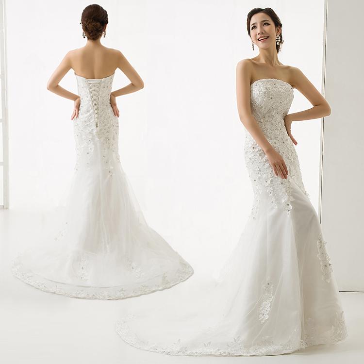 新款韩式公主修身性感抹胸蕾丝新娘婚纱鱼尾婚纱小拖尾奢华修身秋